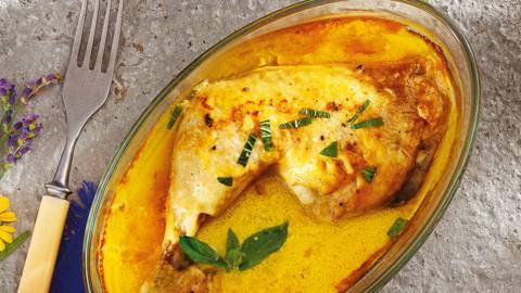 Пилешко бутче със сос от горчица и топено сирене