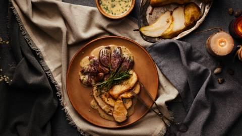 Пaтешко филе с круши и коняк