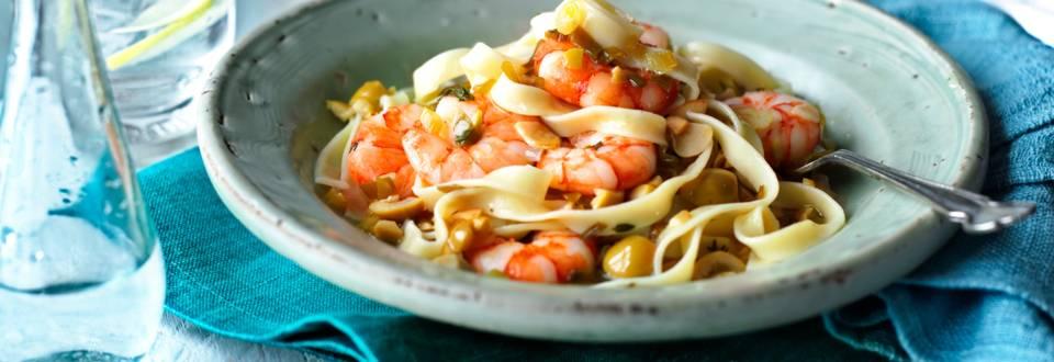 Паста със скариди и сос Тапенада