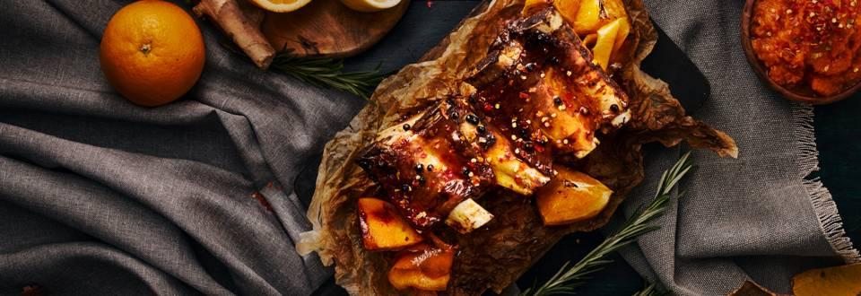 Печени свински гърди с глазура от мед, портокал и джинджифил