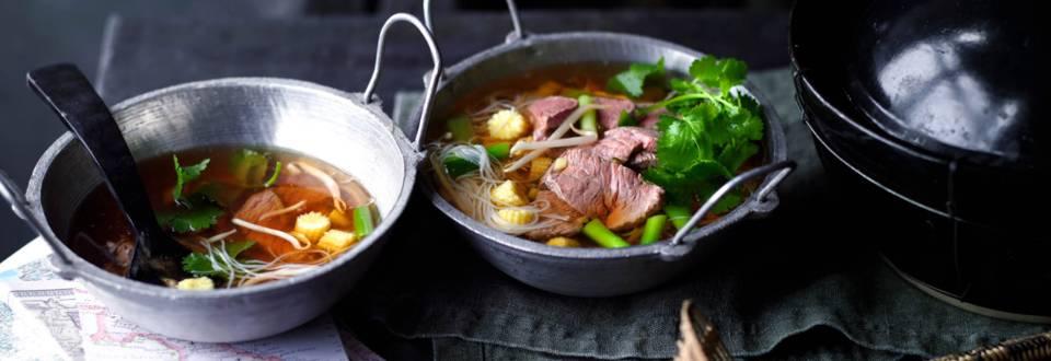 Супа с оризови спагети и телешко месо