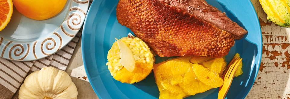 Печена патица с портокалово желе и ризото с тиква