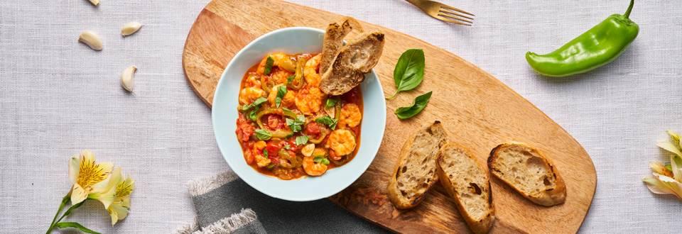 Средиземноморска яхния със скариди и чери домати по рецепта на шеф Шишков