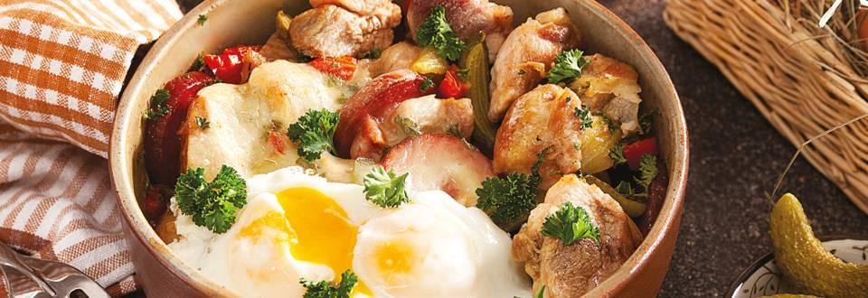 Свинско със зеленчуци в гювече