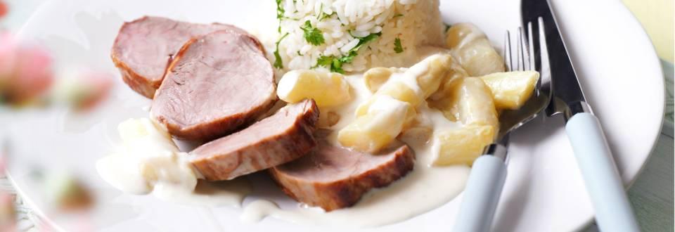 Свинско филе с аспержи в сметанов сос и ориз с див керевиз