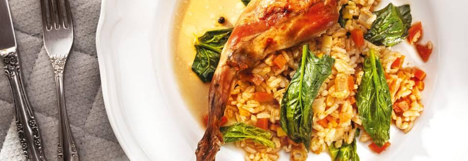 Печено заешко с ориз и зеленчуци