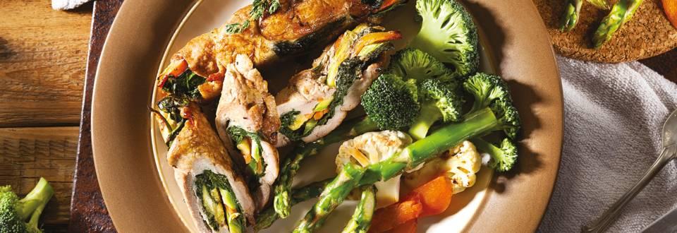 Пълнен свински врат със зеленчуци