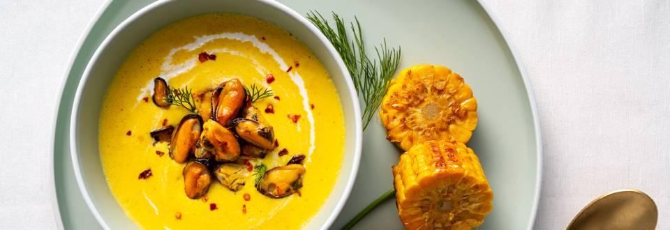 Крем супа от царевица със задушени миди – по рецепта на шеф Шишков